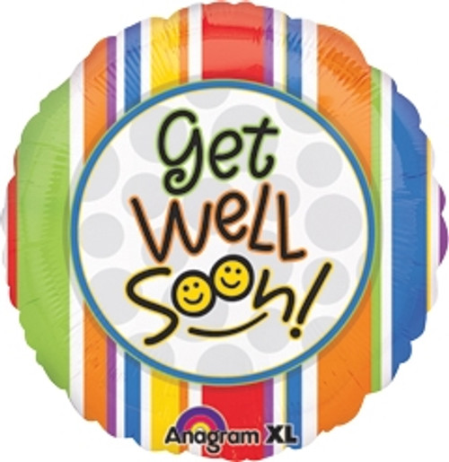 "18"" Get Well Smiles & Stripes Balloon"