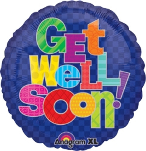 "18"" Get Well Multi Pattern Balloon"