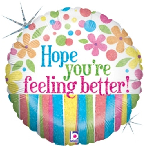 "18"" Get Well Better Flowers Holographic Balloon"