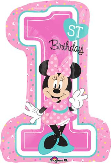 "28"" Minnie 1st Birthday Super Shape Balloon"