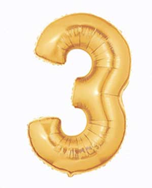 "Megaloon 3"" Number 3 Gold Super Shape Balloon"