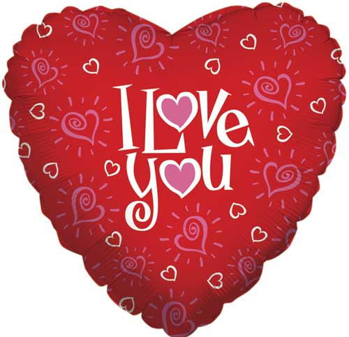 "18"" I Love You Hearts Balloon"