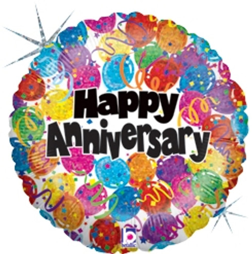 "18"" Happy Anniversary Party Holographic Balloon"
