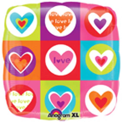 "18"" Hearts & Squares Balloon"