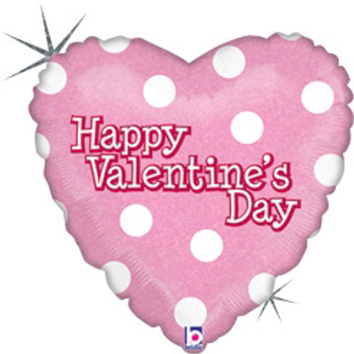 "18"" Valentine Pink Dots Holographic Balloon"