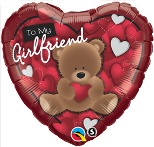 "18"" To My Girlfriend Bear Heart Balloon"