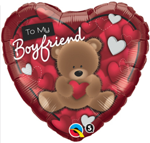 "18"" To My Boyfriend Bear Heart Balloon"