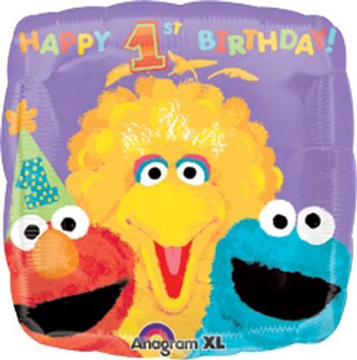 "18"" Sesame Street Happy 1st Birthday Square Balloon"