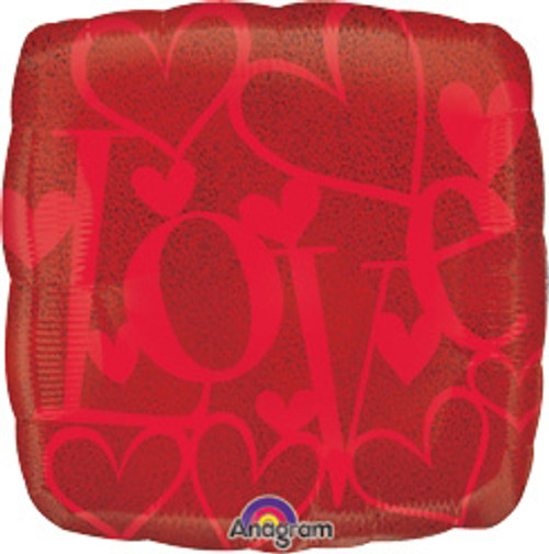 "18"" Red On Red Love Holographic Square Balloon"