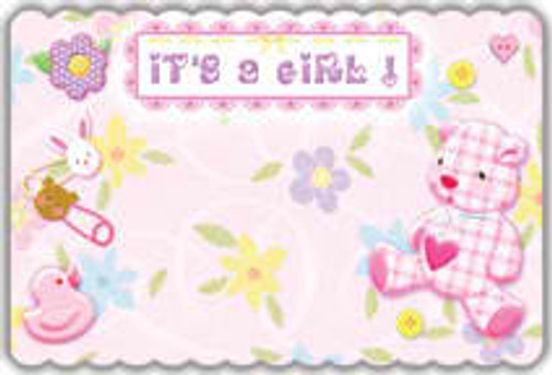 It's a Girl Teddy Notecard