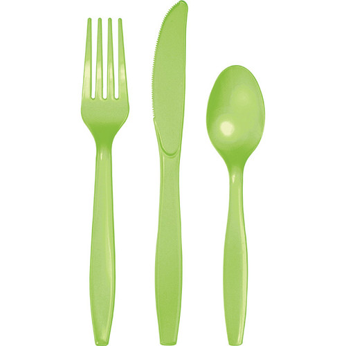 Lime Green Plastic Assorted Cutlery