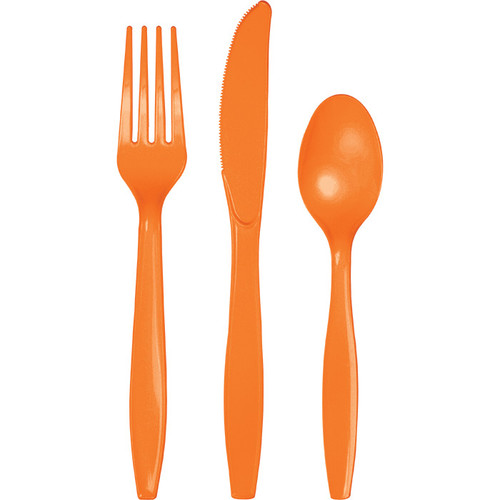Orange Plastic Assorted Cutlery