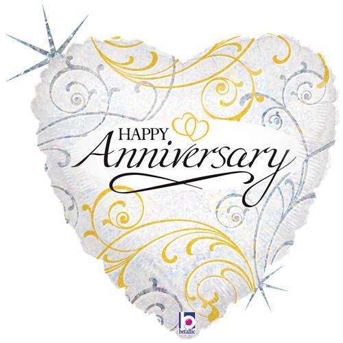 "18"" Anniversary Filligree Heart Shape Balloon"