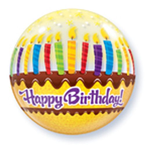"""22"""" Birthday Cake Candles & Frosting Bubble Balloon"""
