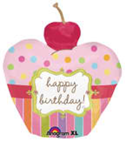 "24"" Cherry Birthday Cupcake Super Shape Balloon"