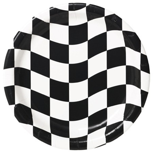 "Black & White Check 9"" Dinner Plates"