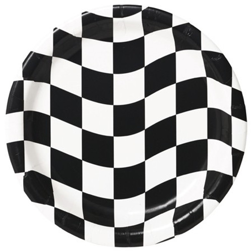 "Black & White Check 7"" Lunch Plates"