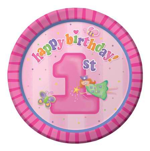 "Fun At One Girl 7"" Lunch Plates"