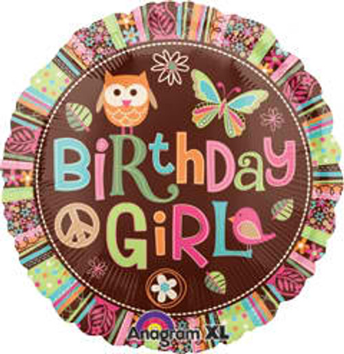 "18"" Birthday Girl Hippie Chick Owl Balloon"
