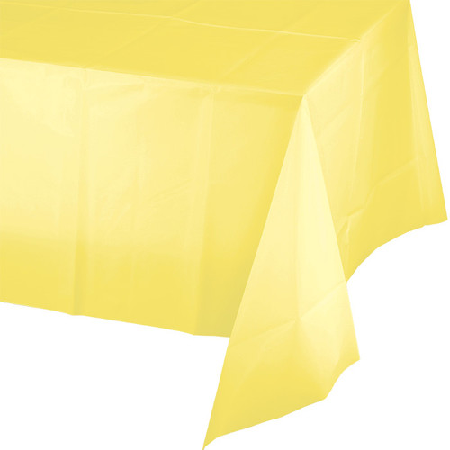 "Light Yellow Plastic 54""x 108"" Tablecover"