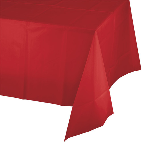 "Red Plastic 54""x 108"" Tablecover"