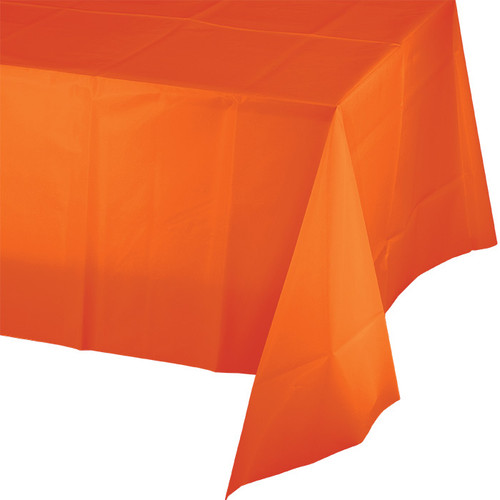 "Orange Plastic 54""x 108"" Tablecover"