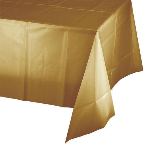 """Gold Plastic 54""""x 108"""" Tablecover"""