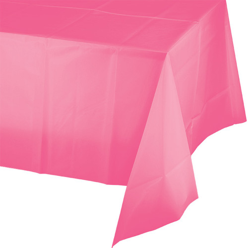 "Candy Pink Plastic 54""x 108"" Tablecover"