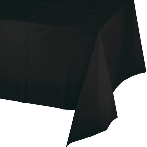 "Black Plastic 54""x 108"" Tablecover"