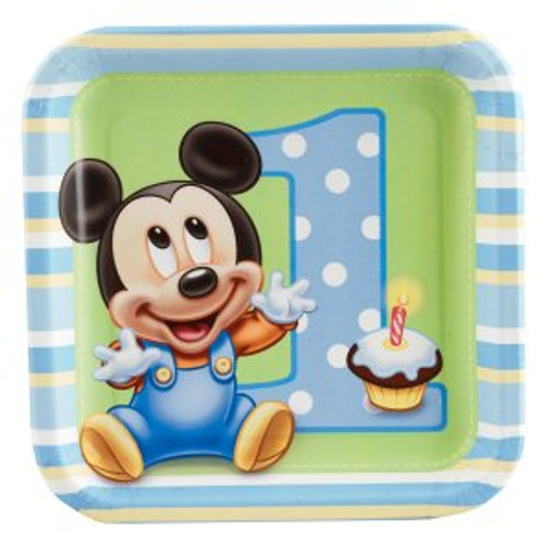 "Mickey's 1st Birthday 7"" Dessert Plates"