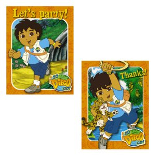 Go Diego Go Invitations & Thank You Combo