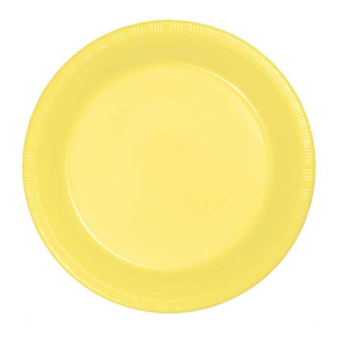 "Light Yellow 7"" Plastic Lunch Plates"