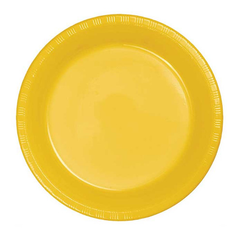 "Yellow 7"" Plastic Lunch Plates"
