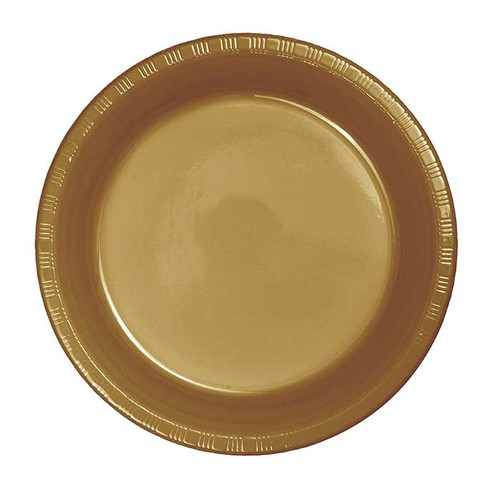 """Gold 7"""" Plastic Lunch Plates"""