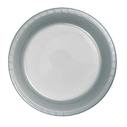 """Silver 7"""" Plastic Lunch Plates"""