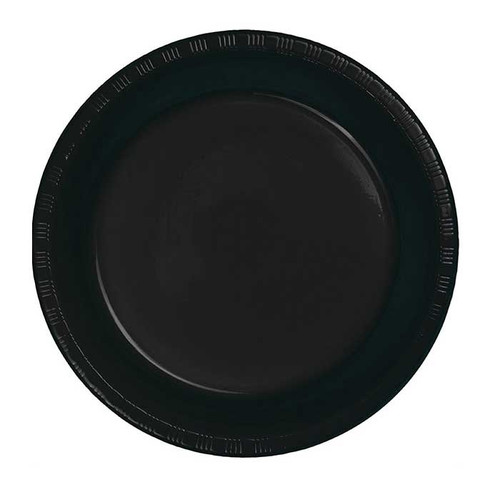 "Black 7"" Plastic Lunch Plates"