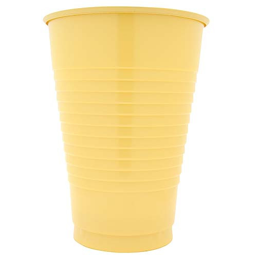 Light Yellow 12 Oz Solid Plastic Cups