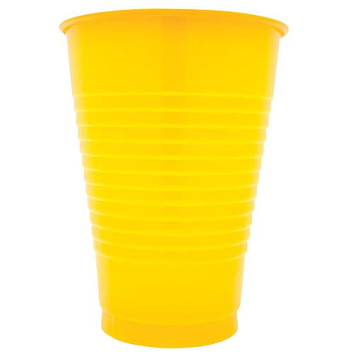 Yellow 12 Oz Solid Plastic Cups