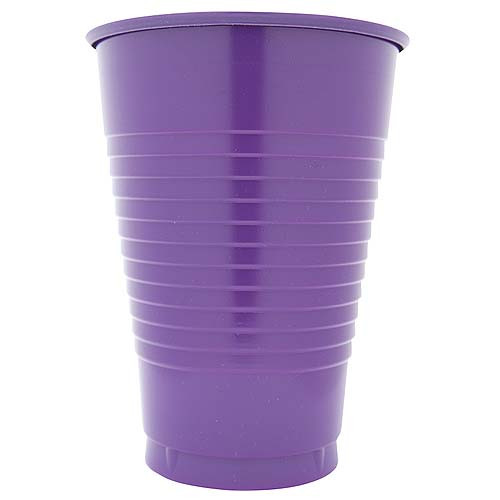 Purple 12 Oz Solid Plastic Cups