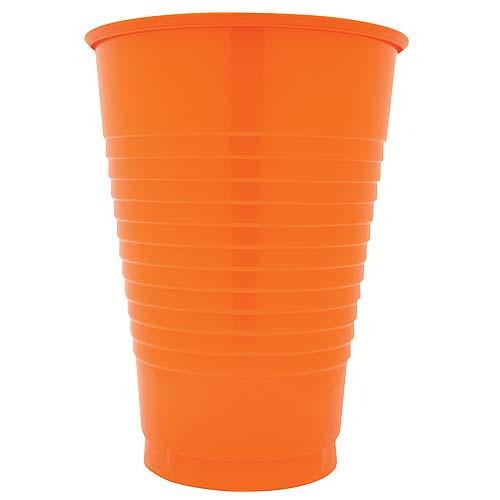 Orange 12 Oz Solid Plastic Cups
