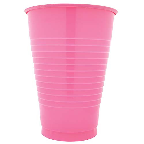 Candy Pink 12 Oz Solid Plastic Cups