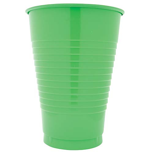 Lime Green 12 Oz Solid Plastic Cups