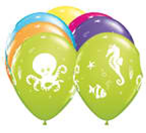 "11"" Fun Sea Creatures Latex Balloon"