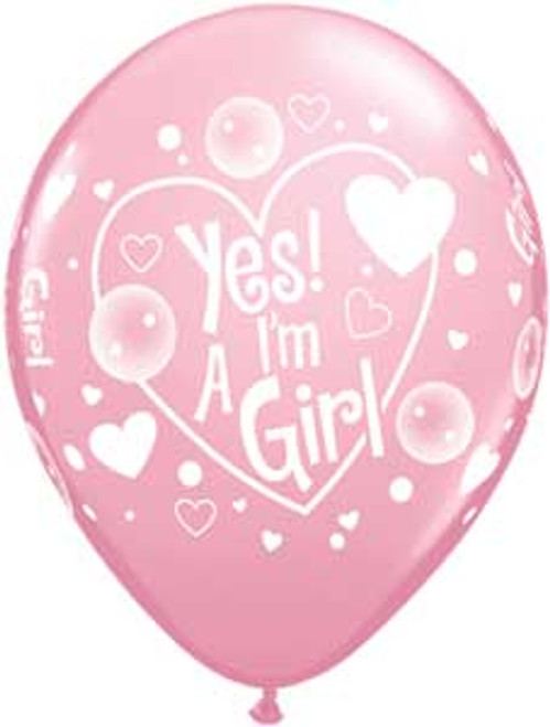 "11"" Yes I'm a Girl Latex Balloon"