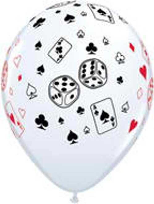 "11"" Card & Dice White Latex Balloon"