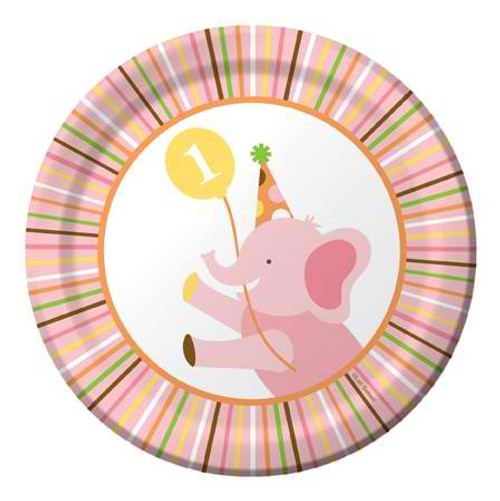 """Sweet At One Girl 7"""" Lunch Plates"""