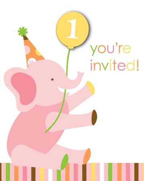 Sweet At One Girl Invitation Cards & Envelopes