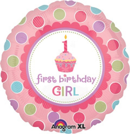 "18"" 1st Birthday Girl Cupcake Balloon"