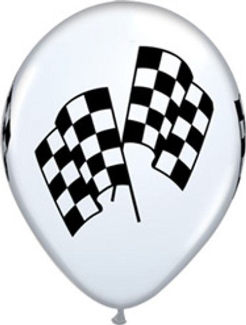 "11"" Racing Flag White Latex Balloon"