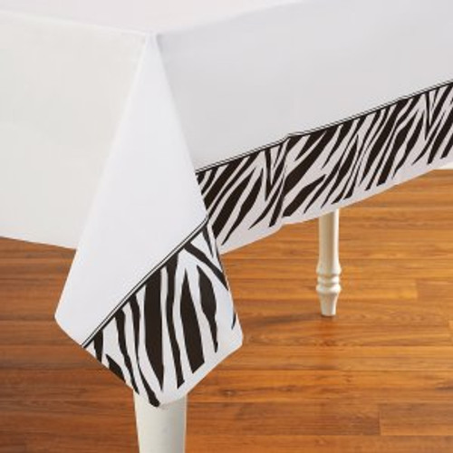 "Animal Print Zebra Plastic 54""x 108"" Tablecover"